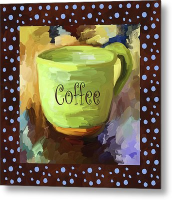 Coffee Cup With Blue Dots Metal Print by Jai Johnson