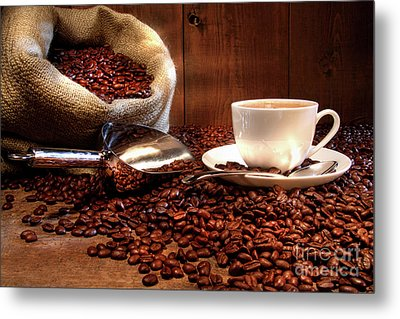 Coffee Cup With Burlap Sack Of Roasted Beans  Metal Print by Sandra Cunningham