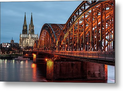Cologne Cathedral At Dusk Metal Print by Vulture Labs