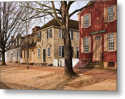 Colonial Street Scene Metal Print by Sally Weigand