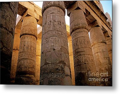 Colonnade In The Karnak Temple Complex At Luxor Metal Print by Sami Sarkis