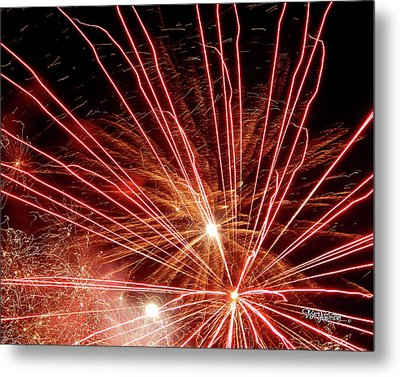 Metal Print featuring the photograph Color Blast Fireworks #0731 by Barbara Tristan