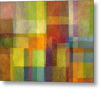 Metal Print featuring the painting Color Collage With Green And Red 2.0 by Michelle Calkins