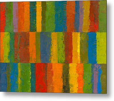 Color Collage With Stripes Metal Print by Michelle Calkins