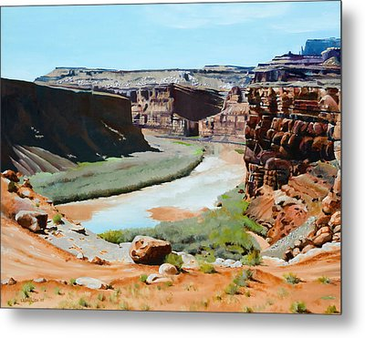 Colorado River Bend Metal Print by Lester Nielsen