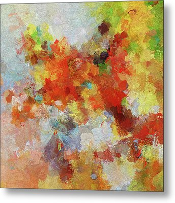 Metal Print featuring the painting Colorful Abstract Landscape Painting by Ayse Deniz