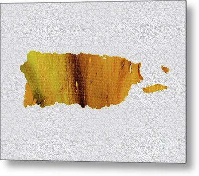 Colorful Art Puerto Rico Map Yellow Brown Metal Print by Saribelle Rodriguez