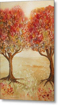 Colorful Autumn Twin Trees Metal Print by Kerri Ligatich