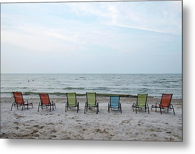 Colorful Beach Chairs Metal Print by Ann Bridges