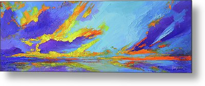 Colorful Beach Sunset Oil Painting  Metal Print