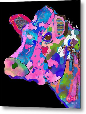 Colorful Bessie The Cow  Metal Print by Kate Farrant