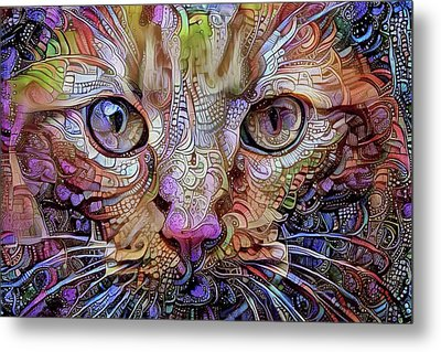 Colorful Cat Art Metal Print by Peggy Collins
