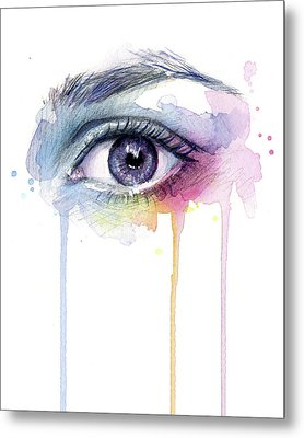 Colorful Dripping Eye Metal Print by Olga Shvartsur