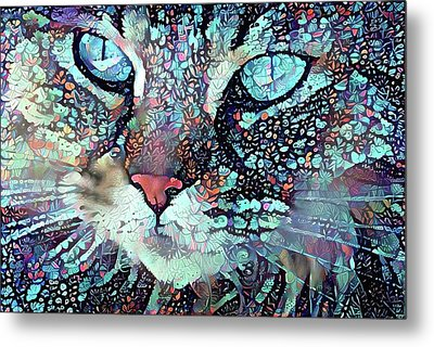 Colorful Flower Cat Art - A Cat Called Blue Metal Print
