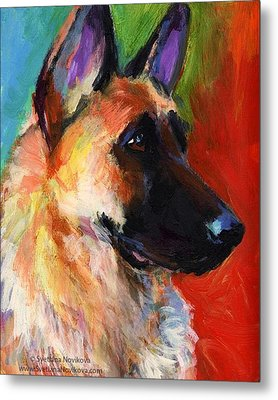 Colorful German Shepherd Painting By Metal Print