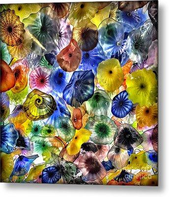 Colorful Glass Ceiling In Bellagio Lobby Metal Print by Walt Foegelle