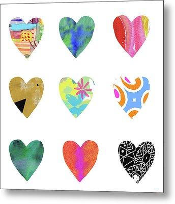 Colorful Hearts- Art By Linda Woods Metal Print