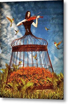 Colorful Hummingbird Song Metal Print by Mihaela Pater