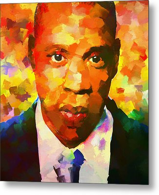 Colorful Jay Z Palette Knife Metal Print by Dan Sproul