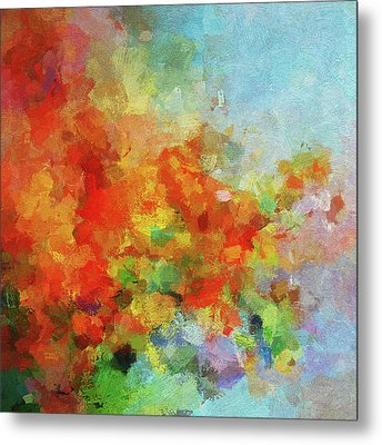 Metal Print featuring the painting Colorful Landscape Art In Abstract Style by Ayse Deniz