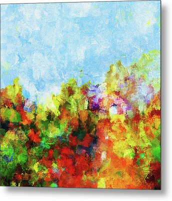 Metal Print featuring the painting Colorful Landscape Painting In Abstract Style by Ayse Deniz