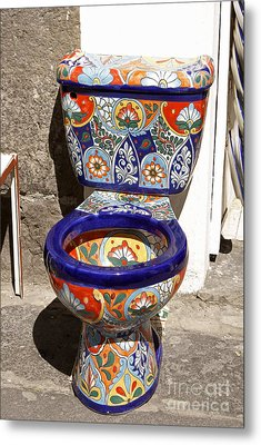 Colorful Mexican Toilet Puebla Mexico Metal Print by John  Mitchell