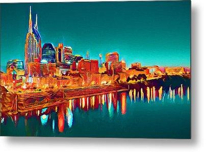 Colorful Nashville Skyline Reflection Metal Print by Dan Sproul