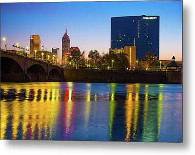 Colorful Night Reflections - Indianapolis Indiana Skyline Metal Print