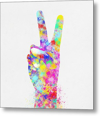Colorful Painting Of Hand Point Two Finger Metal Print by Setsiri Silapasuwanchai