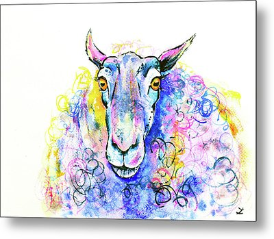 Metal Print featuring the painting Colorful Sheep by Zaira Dzhaubaeva