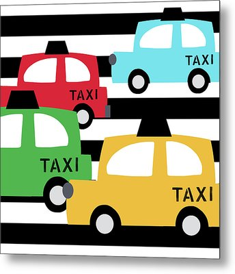 Colorful Taxis- Art By Linda Woods Metal Print