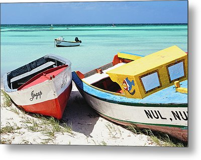 Colorful Traditional Fishing Boats Metal Print by George Oze