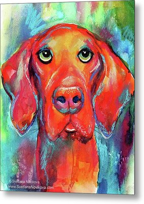 Colorful Vista Dog Watercolor And Mixed Metal Print