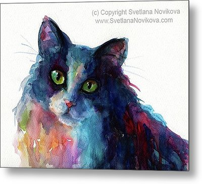 Colorful Watercolor Cat By Svetlana Metal Print