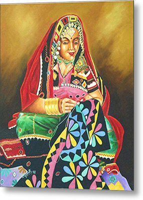 Metal Print featuring the painting Colour Of Rajasthan by Ragunath Venkatraman