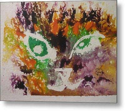Colourful Cat Face Metal Print