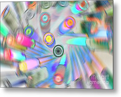 Metal Print featuring the digital art Colourful Pens by Wendy Wilton