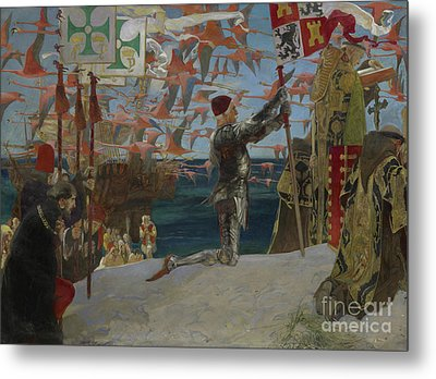 Columbus In The New World Metal Print by Edwin Austin Abbey