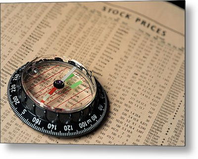 Compass On Stockmarket Cotation In Newspaper Metal Print by Sami Sarkis