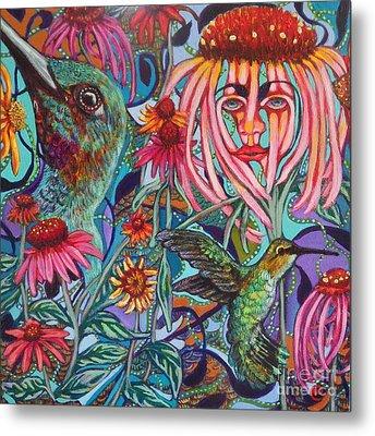Coneflower And Hummingbird Metal Print by Linda Markwardt