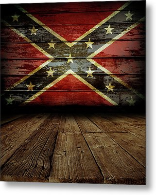 Confederate Flag On Wall Metal Print by Les Cunliffe