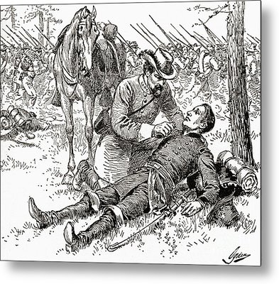 Confederate General John Brown Gordon Assists Wounded Union General Francis Channing Barlow Metal Print