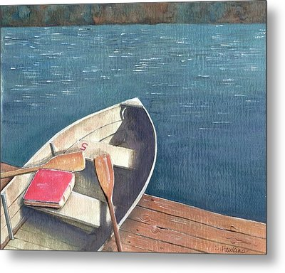 Connetquot Park Row Boat Metal Print by Sheryl Heatherly Hawkins