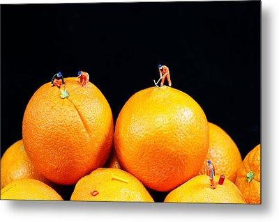 Construction On Oranges Metal Print by Paul Ge