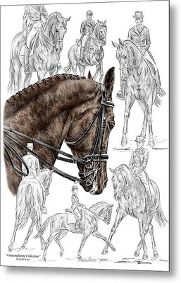 Contemplating Collection - Dressage Horse Print Color Tinted Metal Print