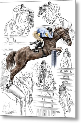 Metal Print featuring the drawing Contemplating Flight - Horse Jumper Print Color Tinted by Kelli Swan