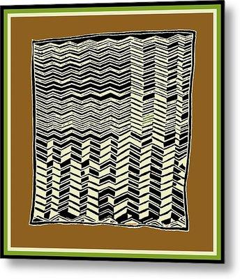 Metal Print featuring the digital art Contemporary African Tribal Kuba Design  by Vagabond Folk Art - Virginia Vivier