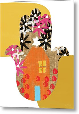 Contemporary Hamsa With House- Art By Linda Woods Metal Print