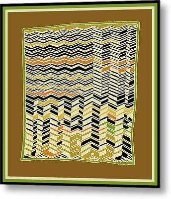 Metal Print featuring the digital art Contemporary Kuba Cloth by Vagabond Folk Art - Virginia Vivier
