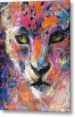 contemporary Wildlife painting cheetah leopard  Metal Print by Svetlana Novikova